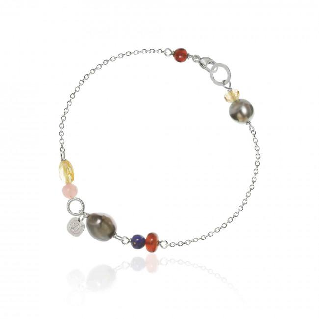 Piccolo bracelet. With lapis lazuli, citrine, hessonite, grenade, guava quartz and tahiti pearls.