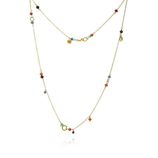 Piccolo necklace. With black diamond. 0,30 ct., coral, spinel, sapphire, ruby and emerald, 47 cm.