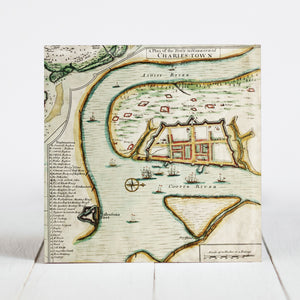 1711 Map of the Walled City of Charles Towne - Charleston, SC