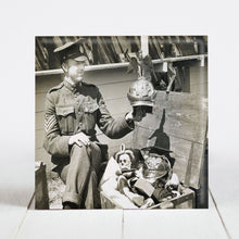 Load image into Gallery viewer, Canadian Army Sgt. shows off Kaiser's Guard's Helmet as Spoils of War c.1918