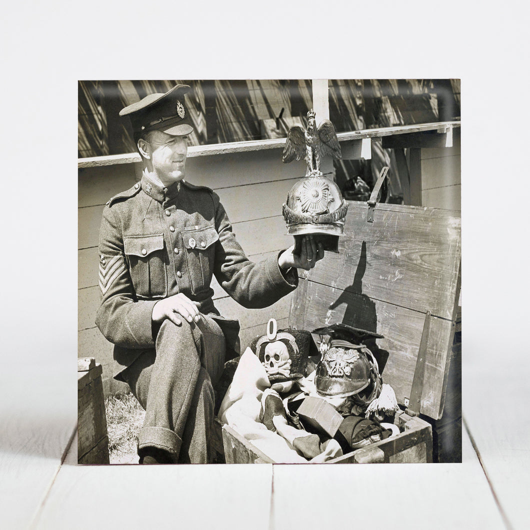 Canadian Army Sgt. shows off Kaiser's Guard's Helmet as Spoils of War c.1918