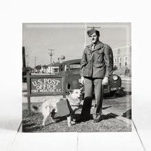 Load image into Gallery viewer, 263rd Coastal Artillery Soldier with Mail Dog at Fort Moultrie, Charleston  cir. 1943
