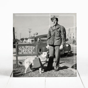 263rd Coastal Artillery Soldier with Mail Dog at Fort Moultrie, Charleston  cir. 1943