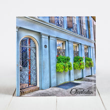 Load image into Gallery viewer, Blue House with Window Box on Rainbow Row, Charleston SC