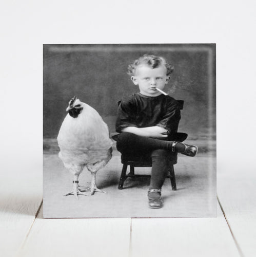 Boy with Cigarette and Chicken