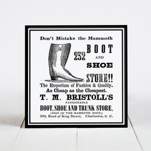 Bristol's Boot and Shoe Ad - King Street, Charleston SC  c.1800s