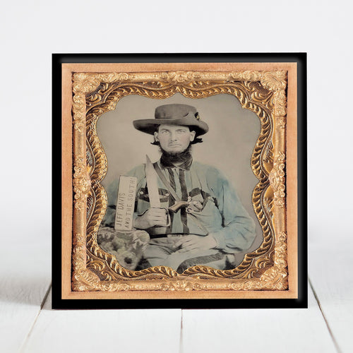 Confederate Cavalry Solder with Bowie Knife and Jeff Davis Sign - Civil War Era