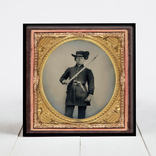 Confederate Soldier with Artillery Saber - Civil War Era