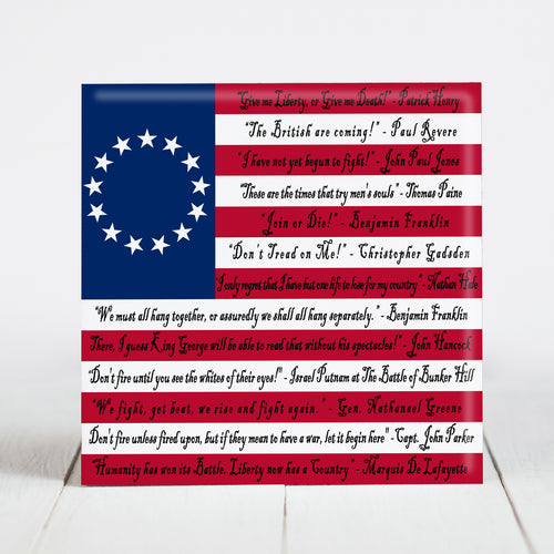 Betsy Ross Flag with Patriotic Sayings