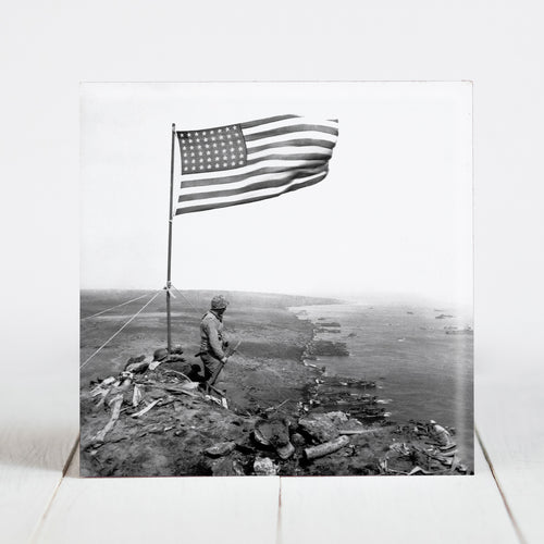 American Flag Waves from the crest of Mount Suribachi, Iwo Jima c.1945