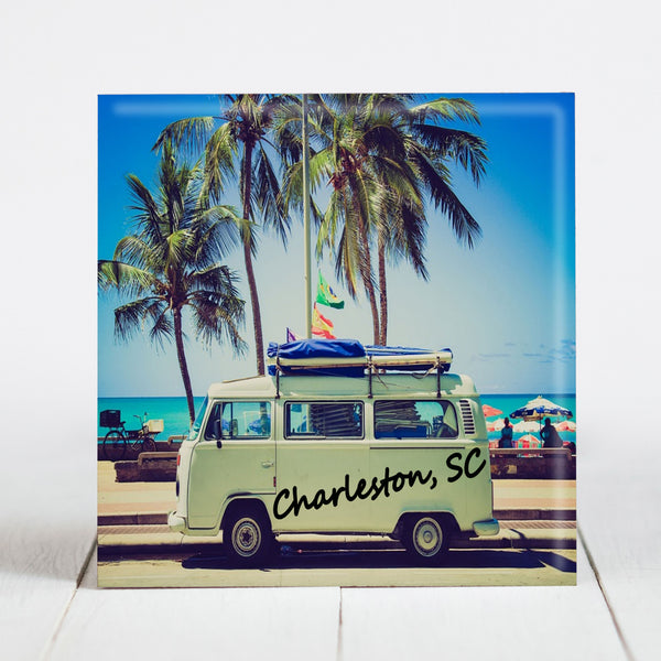 Greetings from Charleston - VW Camper at Beach