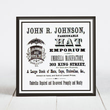 Load image into Gallery viewer, John R. Johnson Hat Emporium - King St., Charleston SC  c.1800s