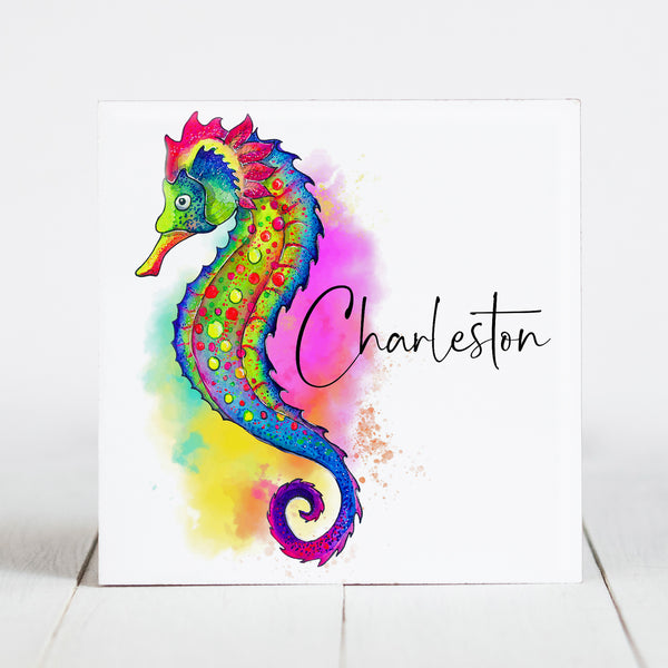 Watercolor SeaHorse with Charleston