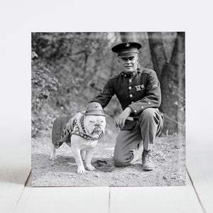 "Sgt. Jiggs - US Marines Bulldog Mascot with Lt. General Lewis ""Chesty"" Puller c.1925"