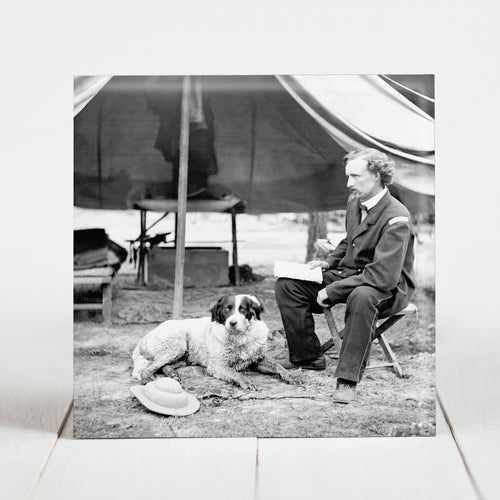 Lt. George A. Custer with dog at The Peninsula, VA c1862