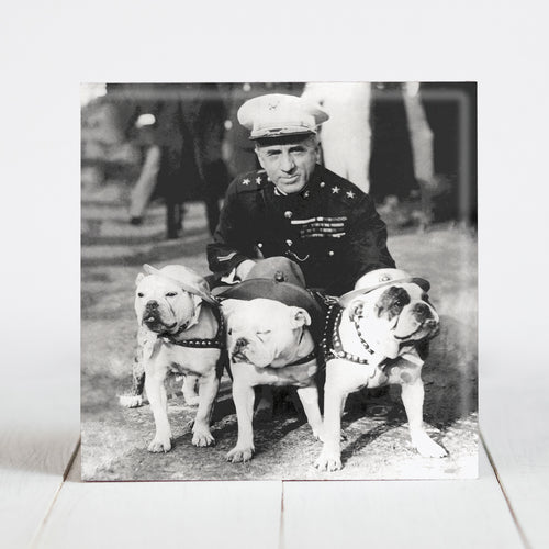Marine Major General Smedley Butler with Bulldog Mascots c.1930