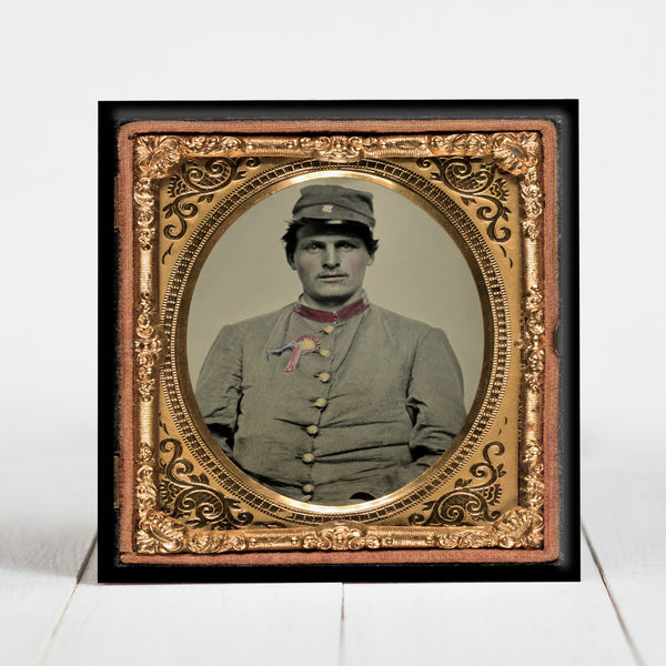 Confederate Soldier with Secession Badge and Artillery Forage Hat