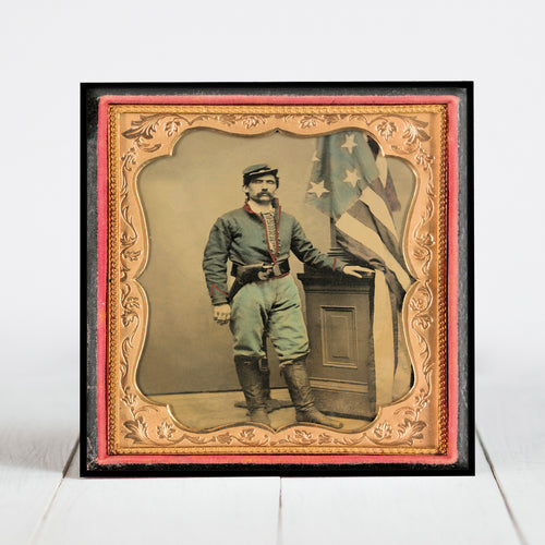 Union Soldier with Flag - Civil War Era