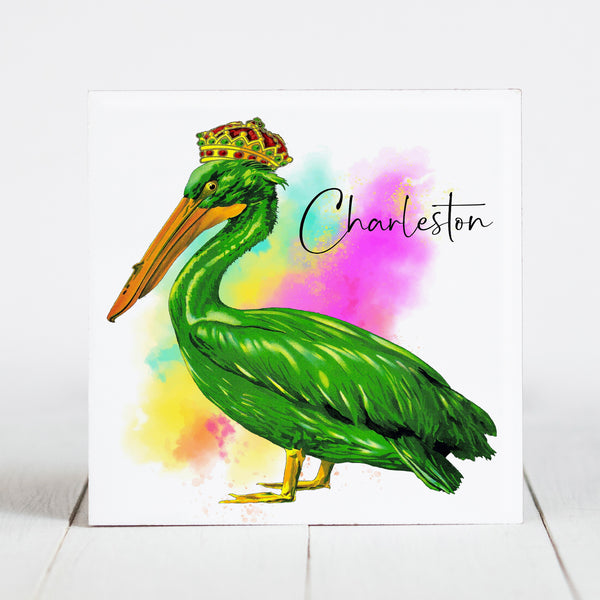 Watercolor Pelican with Charleston