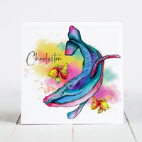 Watercolor Whale with Charleston