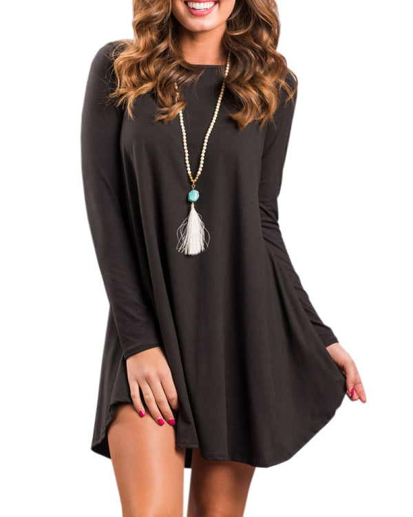 Kakimoda Casual Daily Long Sleeve O-Neck Dress
