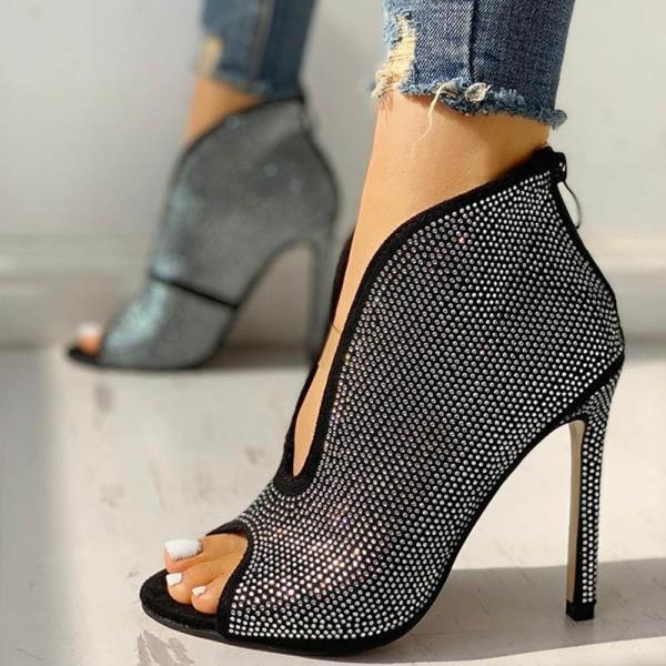 Kakimoda Sexy Peep Toe Zipper Rhinestone Heels ( Ship In 24 Hours )