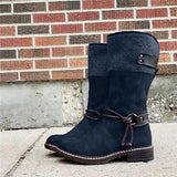 Kakimoda Buckle Strap Patchwork Mid-Calf Boots