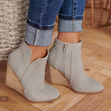 Kakimoda Side Zipper Wedge Heel Point Toe Booties