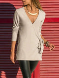 Kakimoda Casual Plain Surplice Neck Long Sleeve Cardigan