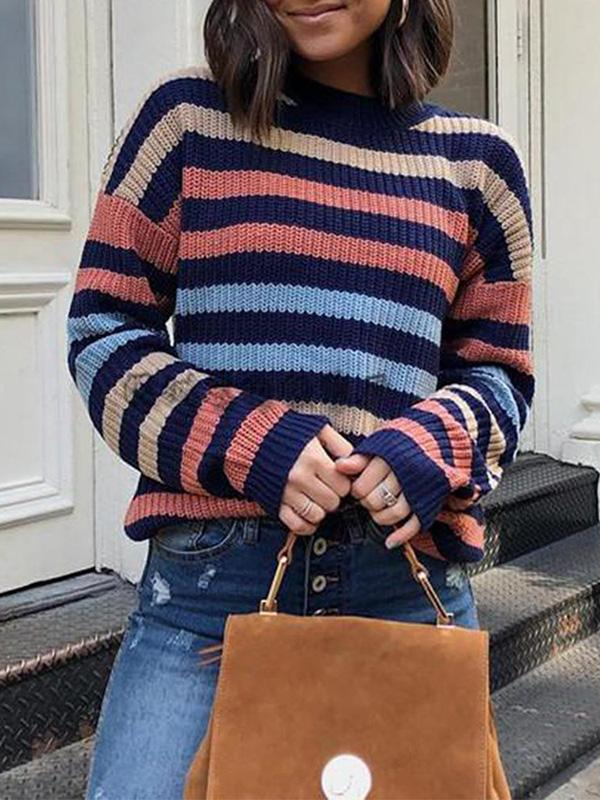 Kakimoda Knit Loose Pullover Sweater Crew Neck Long Sleeve Striped Sweater