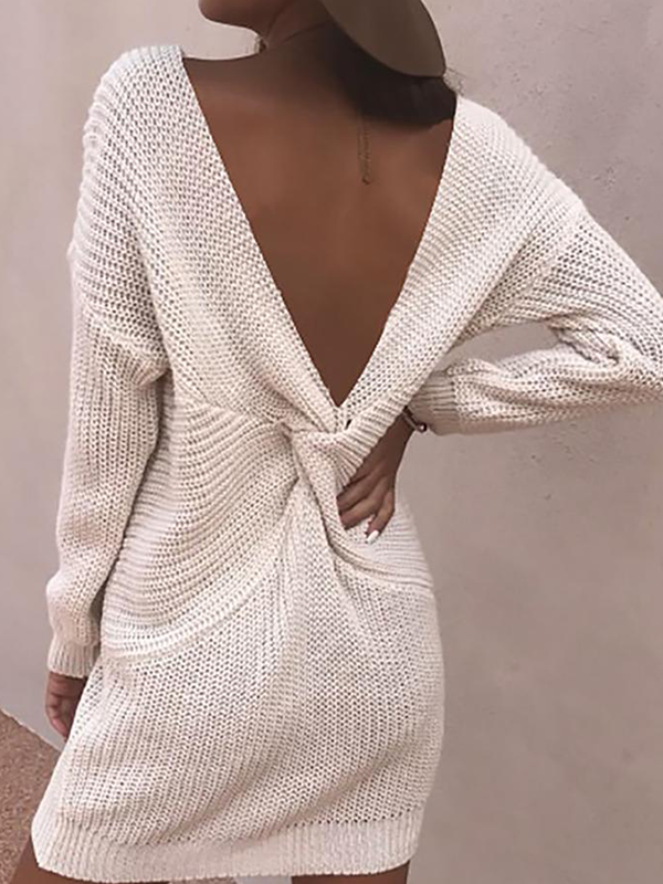 Kakimoda Crisscross Open Back Long Sleeve Sweater
