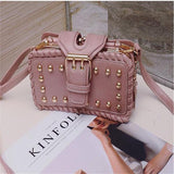 Kakimoda Rivet Faux Leather Buckle Shoulder Bag