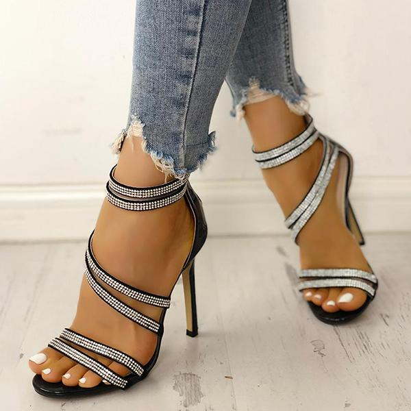 Kakimoda Hot Drilling Bandage Thin Heeled Sandals
