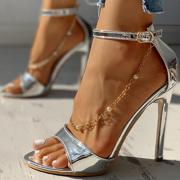 Kakimoda Glitter strap Chain Thin Heeled Sandals Heels