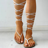 Kakimoda Bandage Lace-Up Toe Post Sandals
