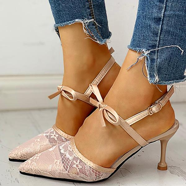 Kakimoda Pointed Toe Lace Bowknot Ankle Buckled Heeled Sandals