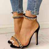 Kakimoda Chain Embellished Ankle Strap Stiletto Heels