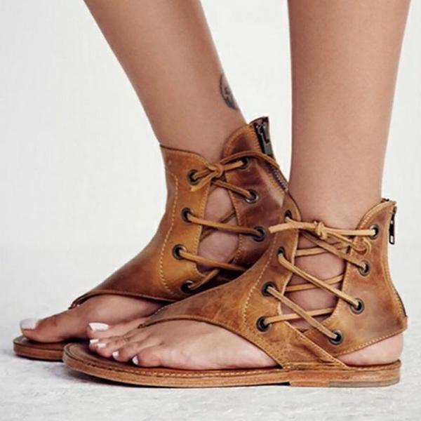 Kakimoda Lace-Up Hollow-Out Flat Sandals