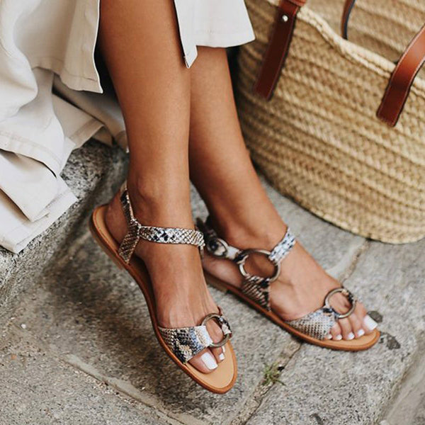 Kakimoda Artificial Leather Adjustable Buckle Flat Heel Sandals