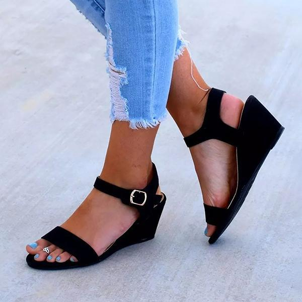 Kakimoda Wedge Sandals Open Toe Ankle Buckle Belt Sandals