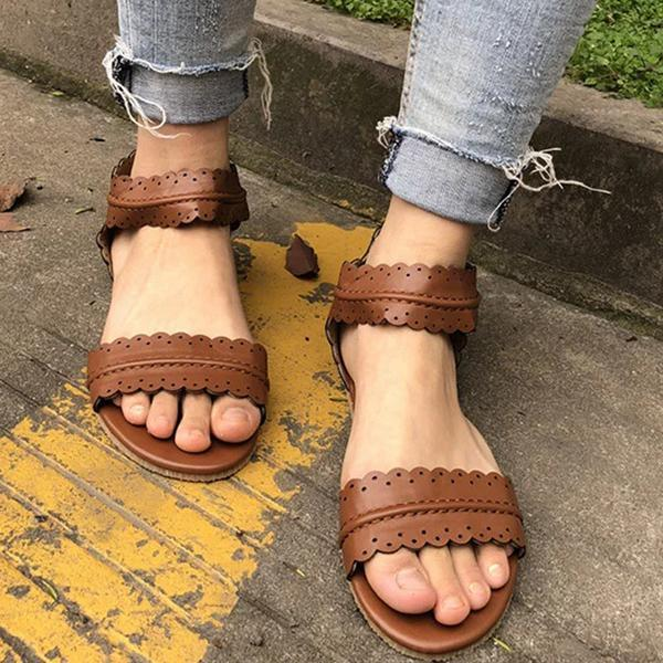 Kakimoda Zipper Flat Heel Summer Sandals