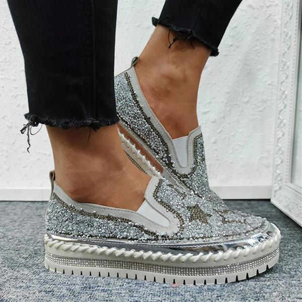 Kakimoda Women Chic Shining Star Rhinestone Slip-on Loafers&Sneakers