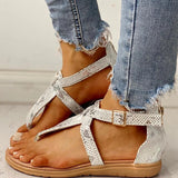 Kakimoda Women Toe Post Glitter Crisscross Flat Sandals