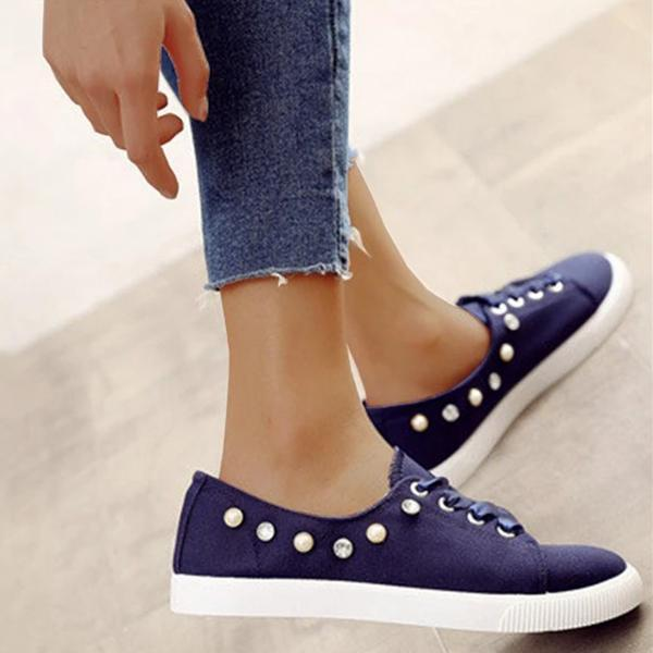 Kakimoda Women Canvas Lace-up Sneakers Round Toe Casual Shoes