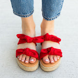 Kakimoda Daily Casual Double Bow Espadrille Slippers