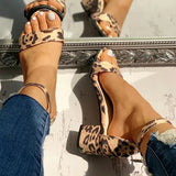 Kakimoda Leopard Open Toe Chunky Heeled Sandals
