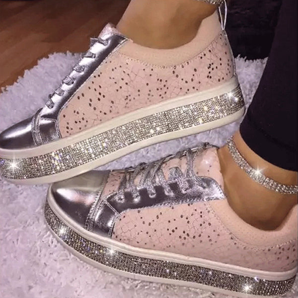 Kakimoda Fashion Rhinestone Flat Lace Up Women's Singles Shoes