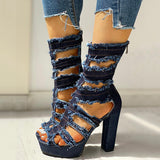 Kakimoda Ladder Cut Out Platform Chunky Heeled Sandals