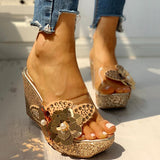 Kakimoda Transparent Bead Studded Platform Wedge Sandals