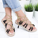 Kakimoda Fashion Summer Flat Hemp Rope Lace Up Sandals